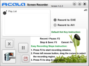 registrare lo schermo con acala screen recorder