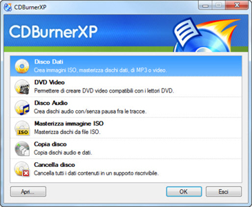 cdburnerxp per la masterizzazione