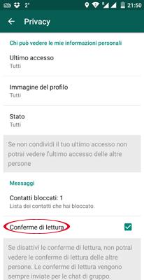 Disattivare conferme lettura WhatsApp