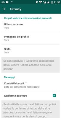 Modificare impostazioni privacy WhatsApp