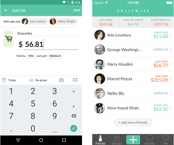 Splitwise, l'app per dividere le spese