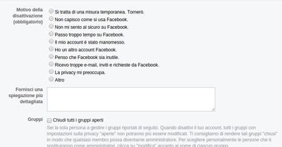disattivazione profilo facebook