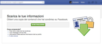 backup dei dati facebook