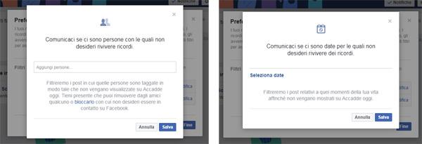 gestire i ricordi di facebook