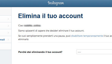 Come chiudere account Instagram