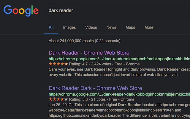 Dark Reader per navigare in modalità notturna