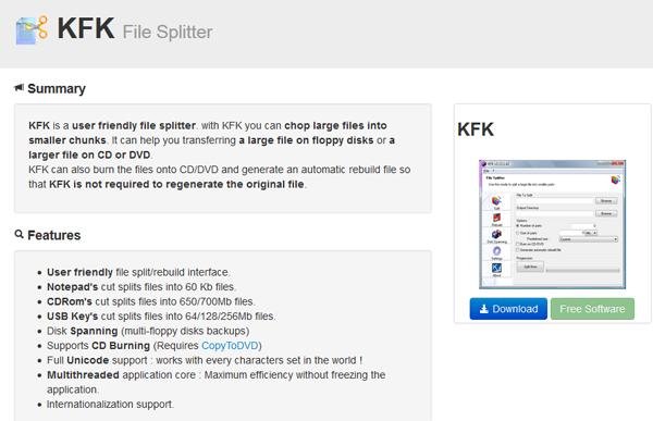 trasferire file di grandi dimensioni con kfk file splitter