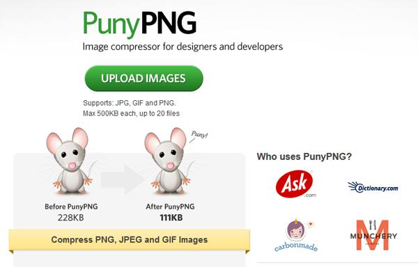 ridurre peso immagini con punypng