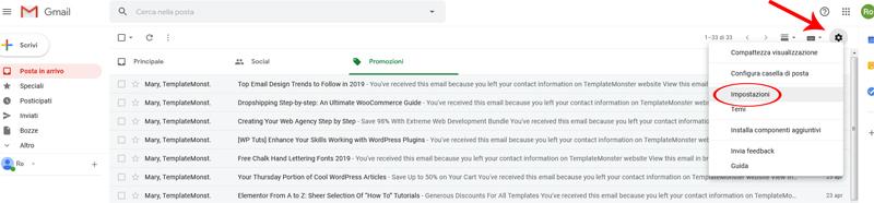 abilitare riquadro anteprima gmail