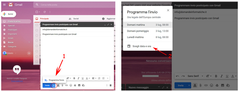 posticipare invio email con gmail