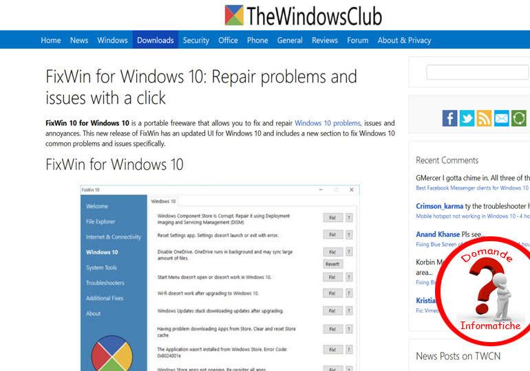 Risolvere problemi Windows 10